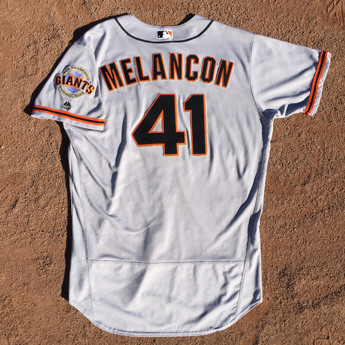 Photo of San Francisco Giants - 2017 Game-Used Jersey - Mark Melancon - worn on 4/9/17 - 1st Save as a Giant - Jersey Size - 48