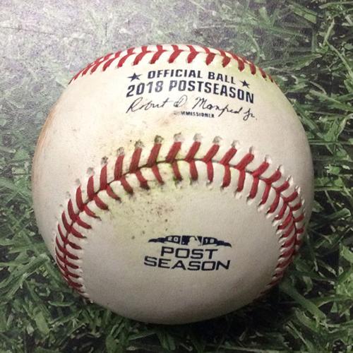 Photo of Game-Used Baseball NLDS Game 2 COL@MIL 10/05/18 - Jhoulys Chacin - Nolan Arenado: Single (Arenado's 3rd Career Postseason Hit)