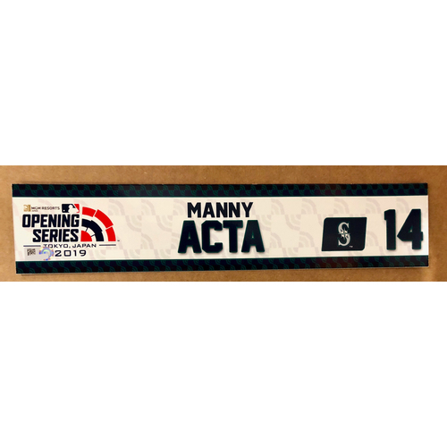 Photo of 2019 Japan Opening Day Series - Game Used Locker Tag - Manny Acta -  Seattle Mariners