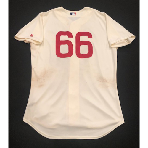 Photo of Yasiel Puig -- Game-Used 1936 Throwback Jersey (Starting RF: Went 1-for-3, BB, 2 R) -- Cubs vs. Reds on June 30, 2019 -- Jersey Size 48