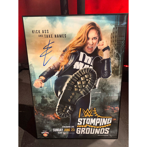Photo of Becky Lynch SIGNED Stomping Grounds 2019 Framed Event Poster