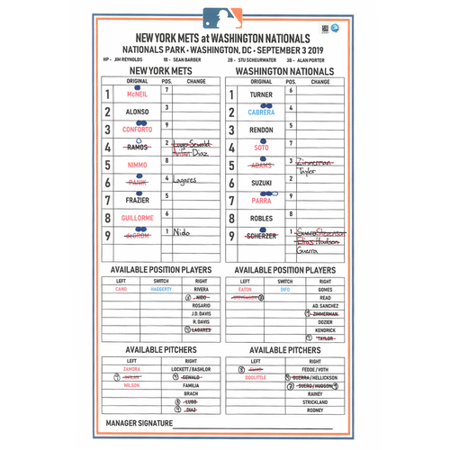 Photo of Game Used Lineup Card - deGrom 7 IP, 4 ER, 6 K's; Alonso 3-5, HR (44), 2 RBI's; McNeil 2-5, HR (18), 3 RBI's - Mets vs. Nationals - 9/3/19