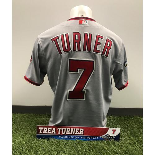 Photo of Trea Turner Game-Used Jersey and Postseason Locker Tag - 2019