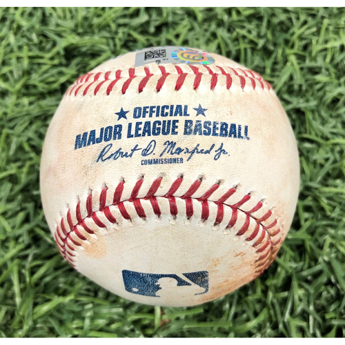 Photo of Game Used Baseball: Kevin Kiermaier single off Jose Suarez - June 15, 2019 v LAD