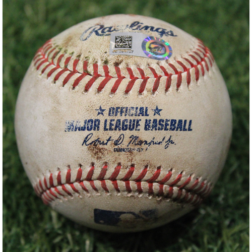 Photo of Game-Used Baseball: Ian Happ 46th Career Double (CHC @ KC 8/5/20)