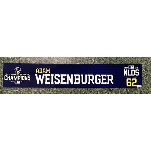 Photo of Adam Weisenburger 2021 Game-Used NLDS Locker Nameplate