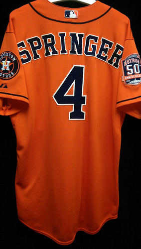 super popular 7e9a6 f4fe9 MLB Auctions | #4 George Springer Game Used 2015 Los Astros ...
