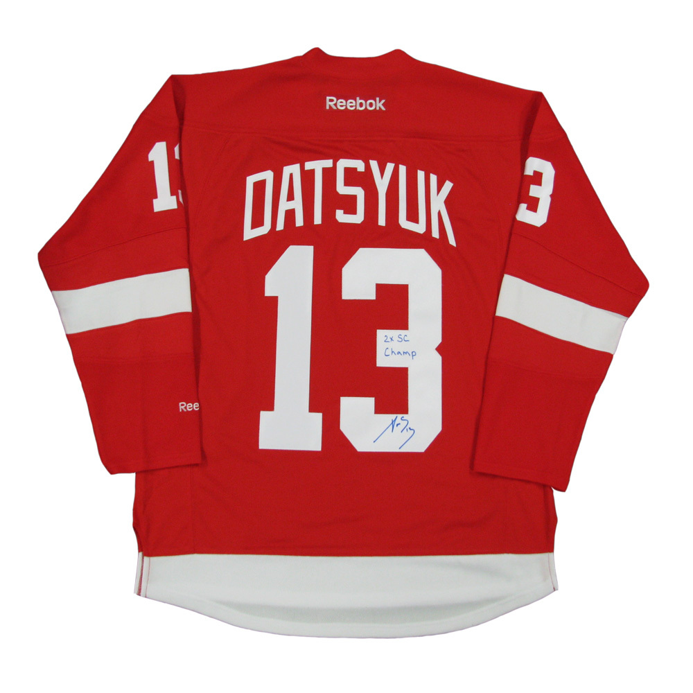 PAVEL DATSYUK Signed Detroit Red Wings Red Reebok Jersey with