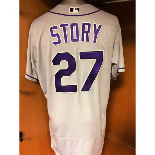 Photo of Colorado Rockies Trevor Story Game-Used Jersey - Story Hits 20th and 21st Home Run