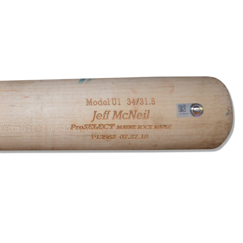 Photo of Jeff McNeil #68 - Game Used Cracked Bat - Beige DTB Model - Mets vs. Phillies - 9/9/18