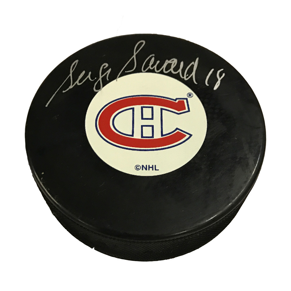 SERGE SAVARD Signed Montreal Canadiens Original 6 Logo Puck in Silver