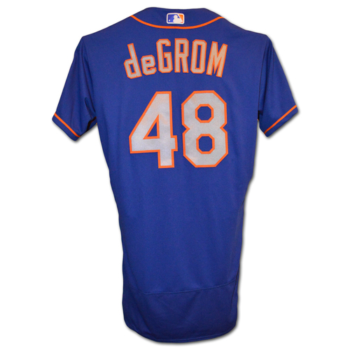 Photo of Jacob deGrom #48 - Team Issued Blue Alt. Road Jersey - 2018 Season