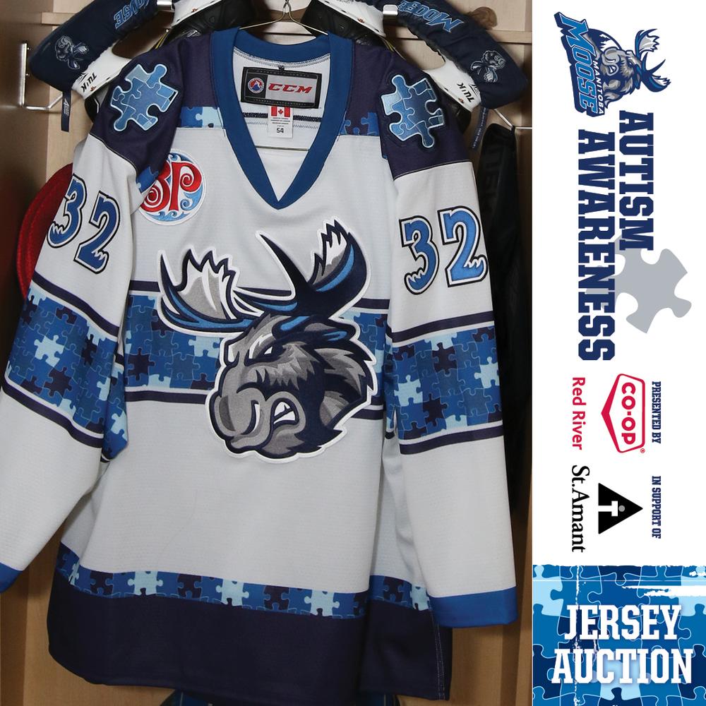 ALEXIS D'AOUST Manitoba Moose Game Worn Autism Awareness Jersey