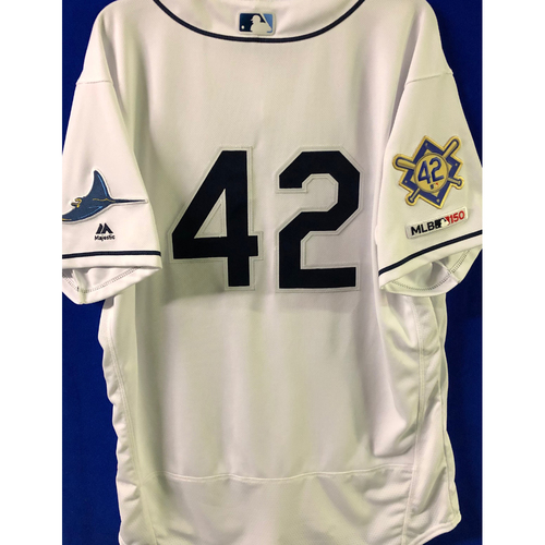 Photo of Game Used Jackie Robinson Day Jersey and Hat: Tyler Glasnow