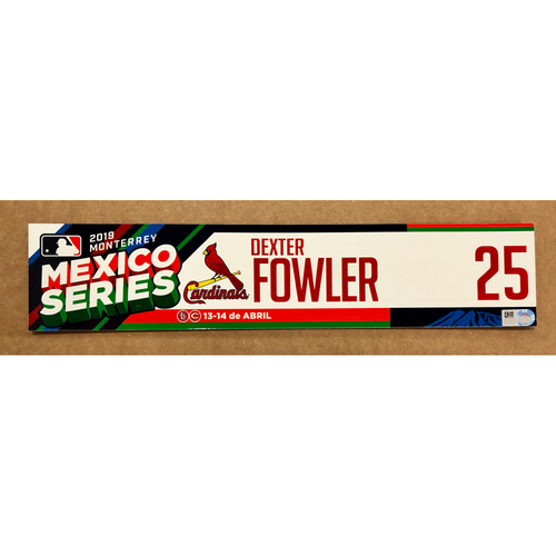 Photo of 2019 Mexico Series - Game Used Locker Tag -Dexter Fowler -  St. Louis Cardinals