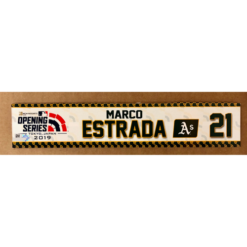 Photo of 2019 Japan Opening Day Series - Game Used Locker Tag - Marco Estrada -  Oakland Athletics