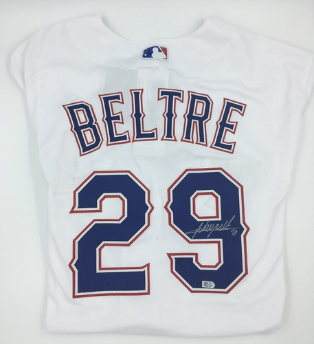 Photo of Adrian Beltre Autographed Authentic Rangers Jersey