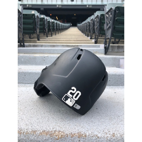 Photo of Danny Mendick 2019 Game-Used Black Matte Batting Helmet