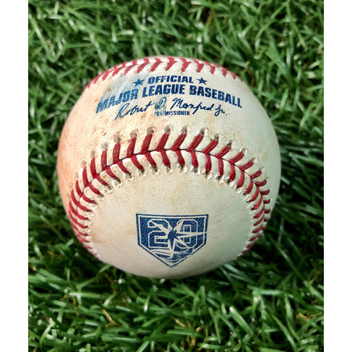 Photo of 20th Anniversary Game Used Baseball: Joey Wendle single and Daniel Robertson single off Luis Cessa - July 25, 2018 v NYY