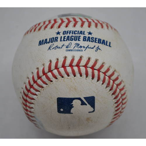 Photo of Game-Used Baseball - 8/9/2020 - Atlanta Braves vs. Philadelphia Phillies (Game 2 of Double Header) - Pitched by Spencer Howard (Foul Ball) - Spencer Howard Debut Game