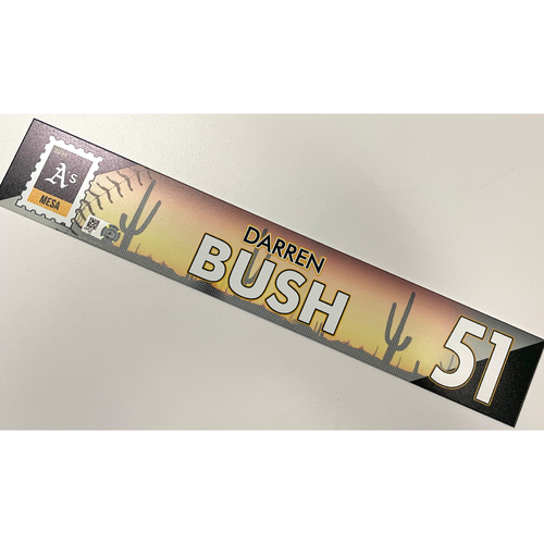 Photo of Game-Used 2021 Spring Training Locker Nameplate - Darren Bush