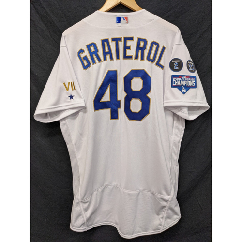 Photo of Brusdar Graterol Team-Issued Gold Trim 2021 Opening Weekend Home Jersey
