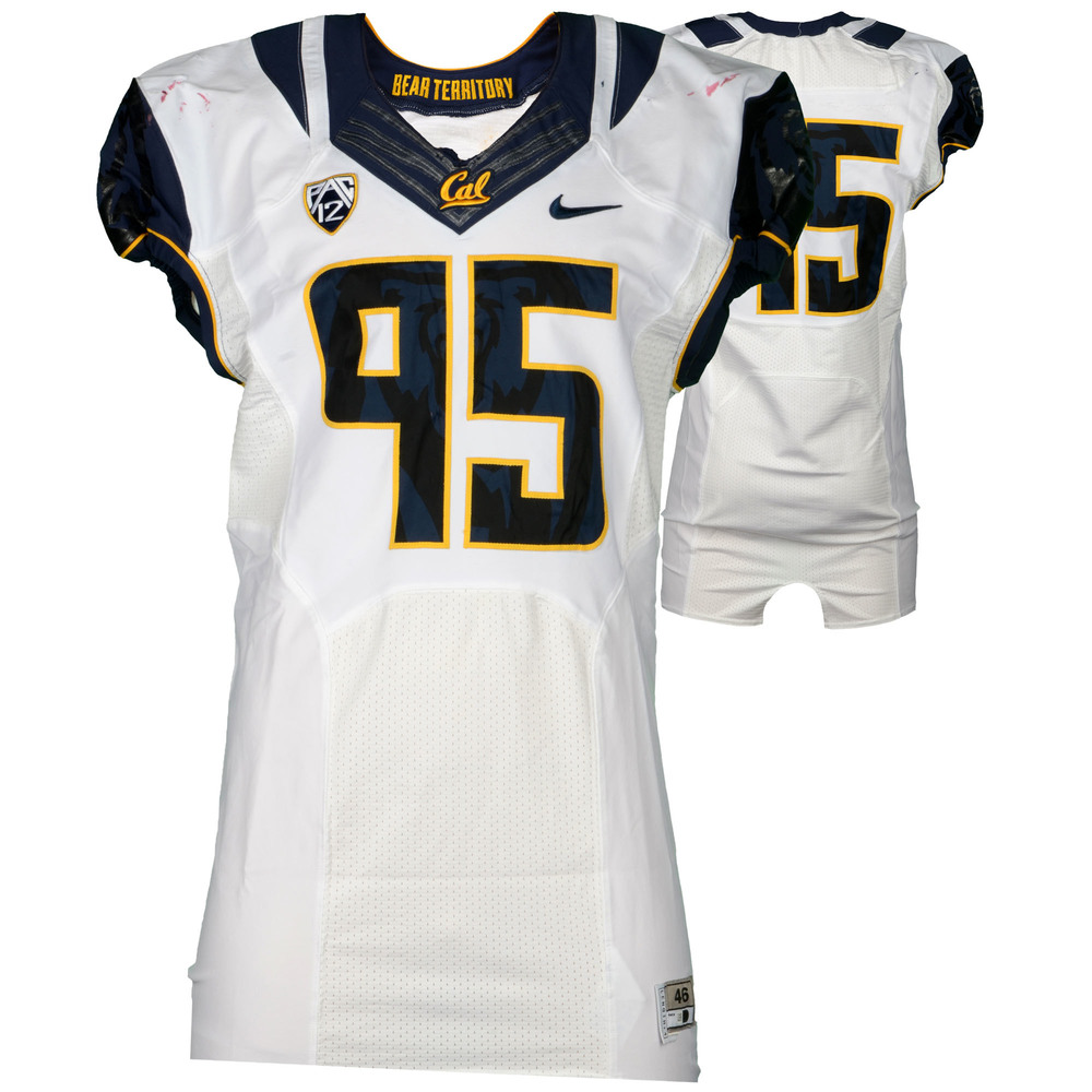 California Bears Game-Used #95 White Jersey Used During The 2015 Season - Size 46