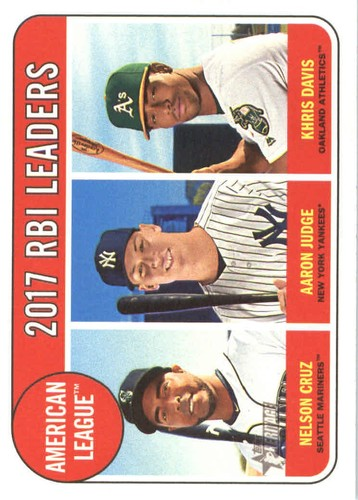 Photo of 2018 Topps Heritage #3 Aaron Judge/Nelson Cruz/Khris Davis LL