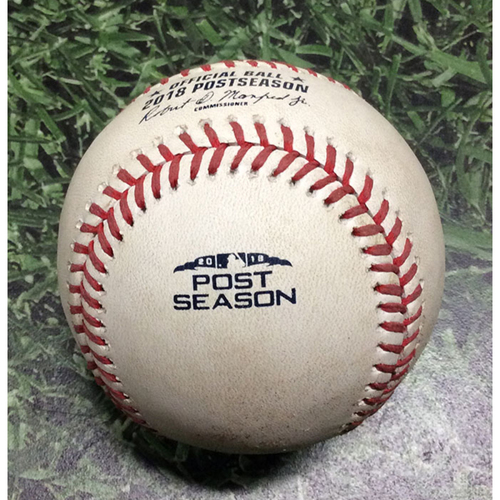 Photo of Game-Used Baseball NLDS Game 2 COL@MIL 10/05/18 - Tyler Anderson - Ryan Braun: Foul