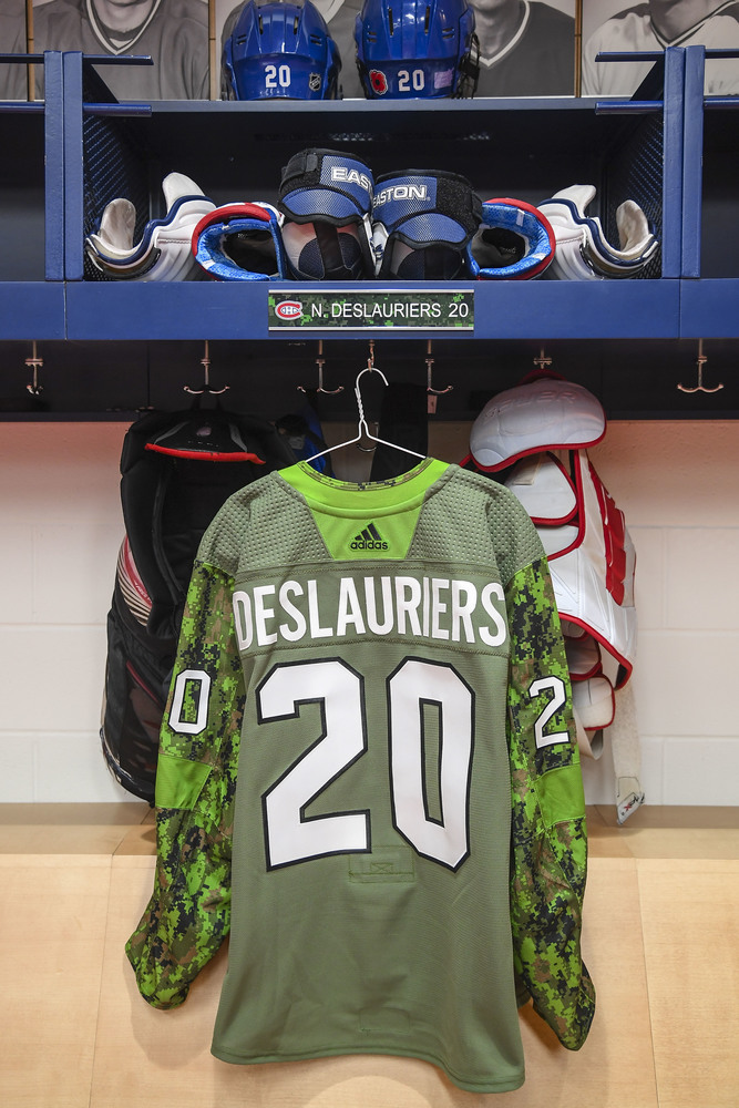 #20 Nicolas Deslauriers Warm-Up Worn and Autographed Military Jersey