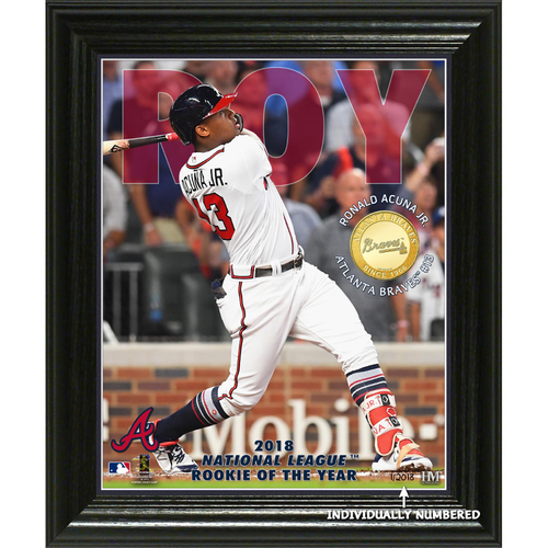 "Photo of Serial #1! Ronald Acuna Jr. 2018 NL Rookie of the Year ""Elite Series"" Bronze Coin Photo Mint"