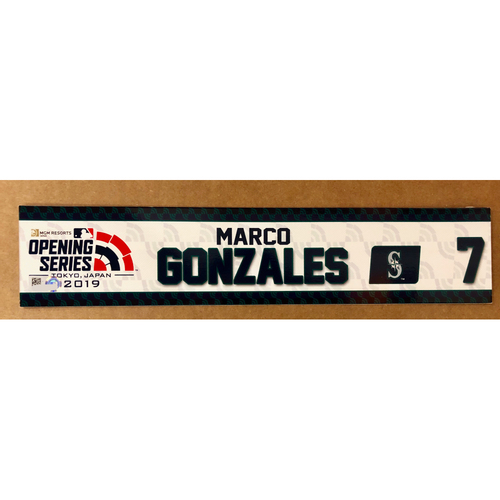 Photo of 2019 Japan Opening Day Series - Game Used Locker Tag - Marco Gonzales -  Seattle Mariners
