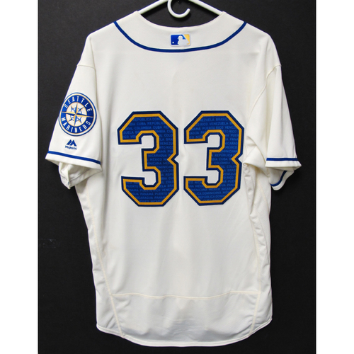 Photo of Seattle Mariners Justus Sheffield Game-Used Marineros Jersey (Salute to Latin American) 9-15-2019