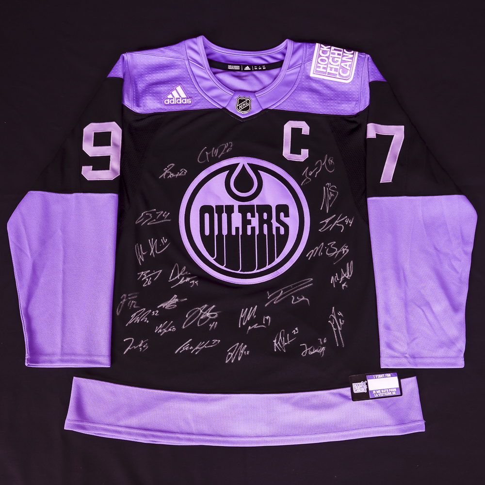 2019-20 Edmonton Oilers Team-Signed Oilers Hockey Fights Cancer Adidas Pro Authentic Jersey Crested To #97 Connor McDavid