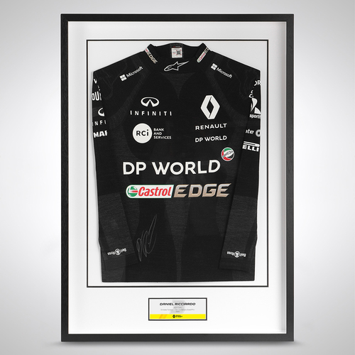 Photo of Daniel Ricciardo 2020 Framed Signed Race Used Nomex