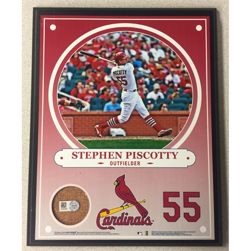 Cardinals Authentics: Stephen Piscotty Game-Used Dirt Player Plaque