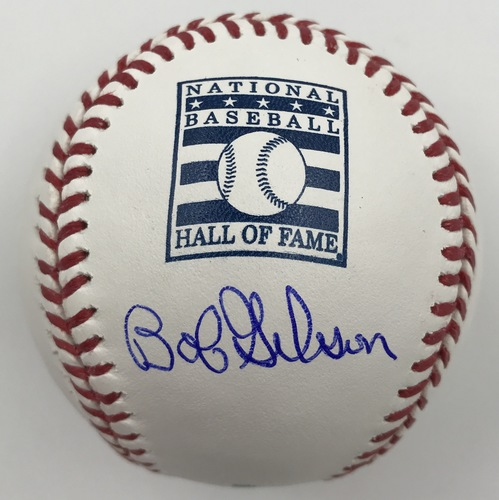 Photo of Bob Gibson Autographed Hall of Fame Logo Baseball