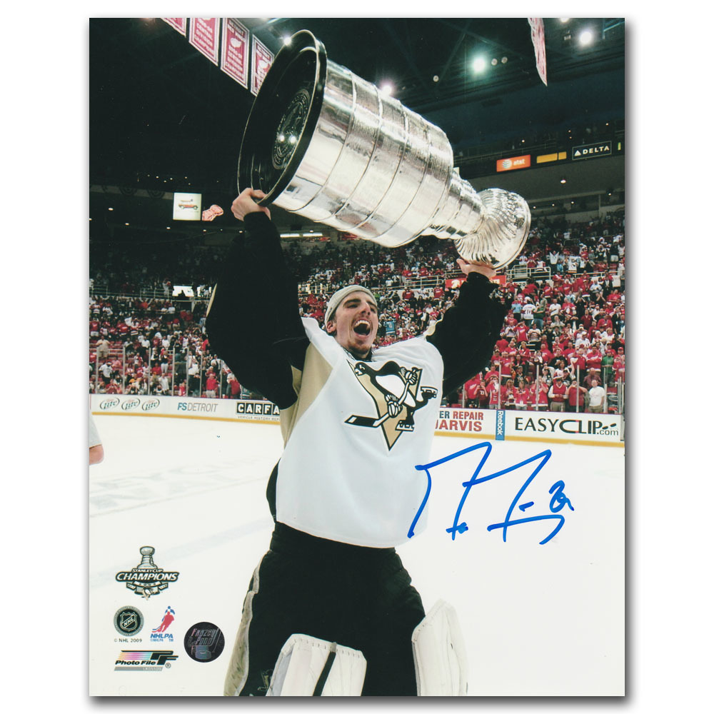 Marc-Andre Fleury Autographed 2009 Game Stanley Cup 16X20 Photo