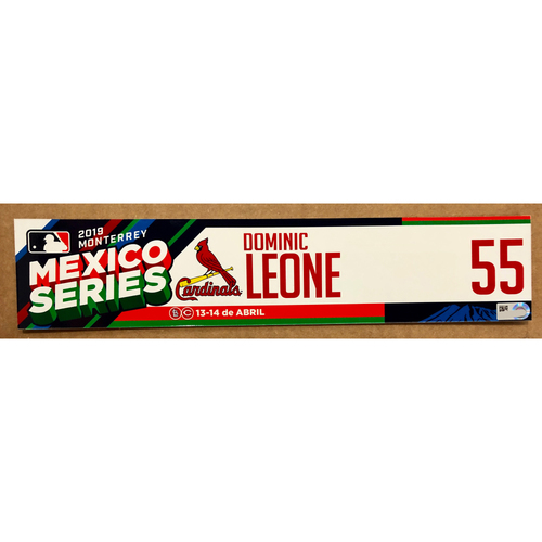 Photo of 2019 Mexico Series - Game Used Locker Tag -Dominic Leone -  St. Louis Cardinals