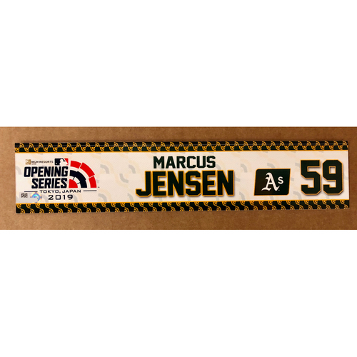 Photo of 2019 Japan Opening Day Series - Game Used Locker Tag - Marcus Jensen -  Oakland Athletics