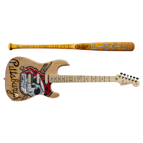 Photo of One-of-a-kind Artist-Painted Pirates Louisville Slugger Bat and Fender Stratocaster Guitar