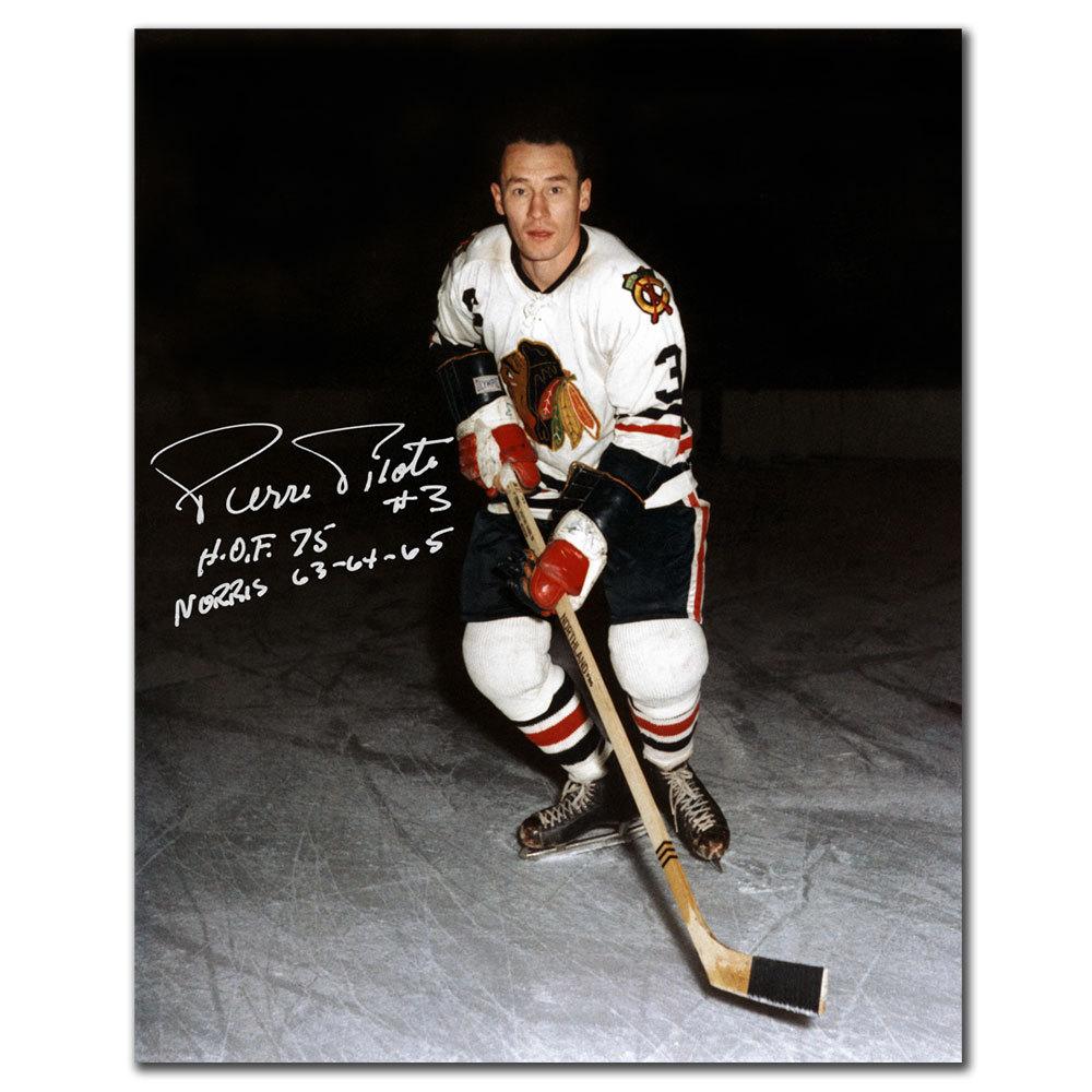 Pierre Pilote Chicago Blackhawks HOF Autographed 8x10