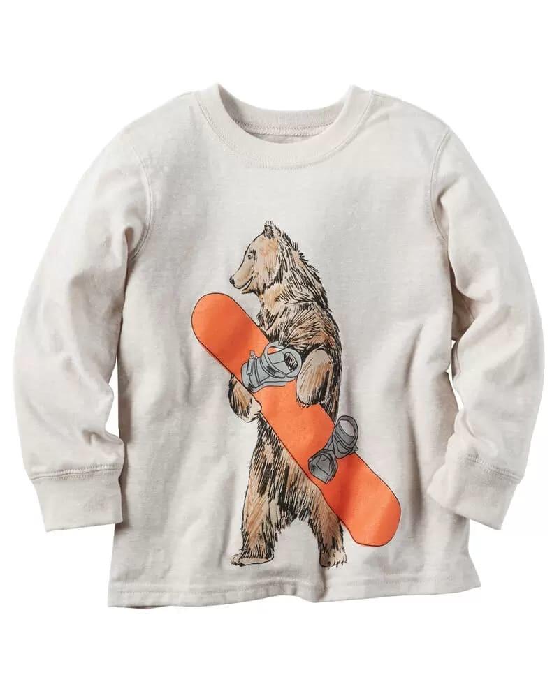 Photo of Carter's Long Sleeve Snowboarding Bear Tee
