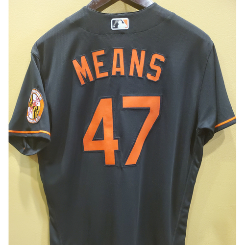 Photo of John Means Team-Issued Black Alternate Jersey - Size 48T