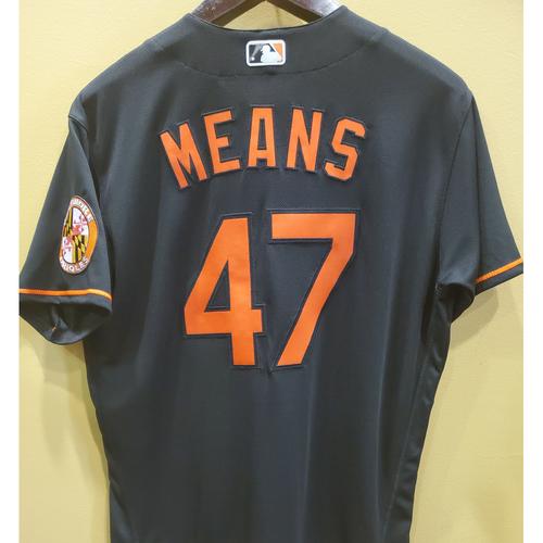 John Means Team-Issued Black Alternate Jersey - Size 48T