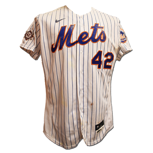 Photo of Tomas Nido #3 - Game Used Jackie Robinson Day Jersey and Hat - Mets vs. Nationals - 4/23/21