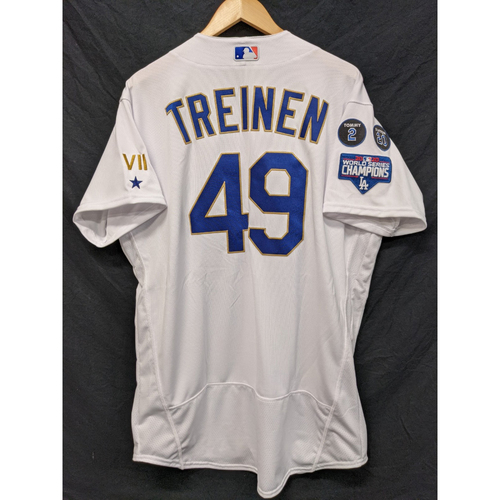 Photo of Blake Treinen Game-Used Gold Trim 2021 Opening Weekend Home Jersey
