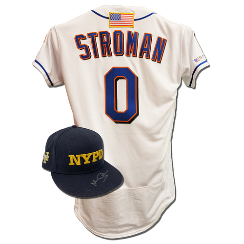 Photo of Marcus Stroman #0 - Autographed Game Used First Responder Hat and Game Used White Commemorative Jersey with American Flag Patch - Mets vs. Yankees - 9/11/2021