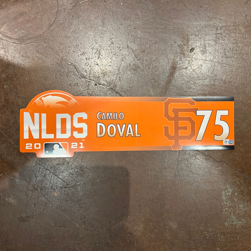 Photo of 2021 Game Used NLDS Locker Tag - #75 Camilo Doval