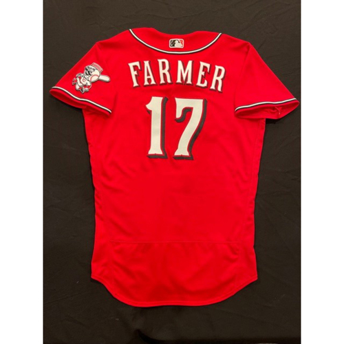 Photo of Kyle Farmer -- 2021 Los Rojos Jersey -- Game Used from May 5 (Defensive Replacement at 1B) & Sept 24 (Starting SS: Went 1-for-5, R) -- Size: 44